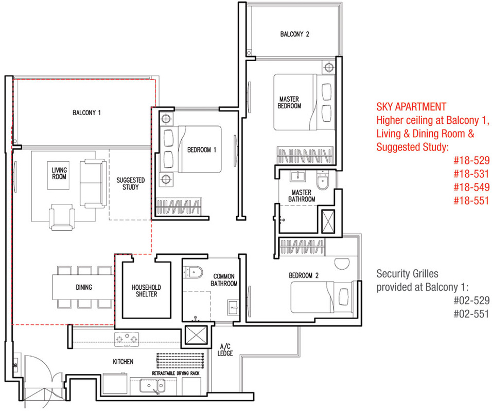 Parkland Residences Type C1 floorplan